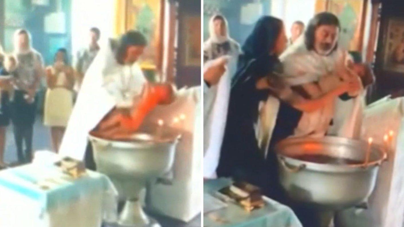 Sacerdote ruso confunde pila bautismal con batea