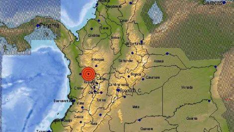 Temblor de 5,1 estremeció el centro de Colombia este sábado