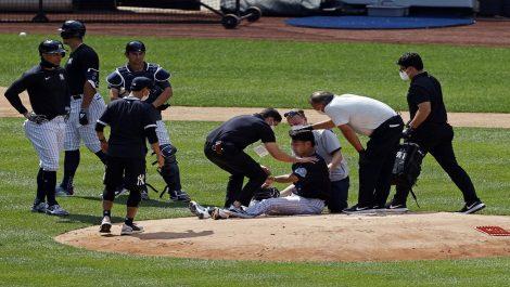 Masahiro Tanaka golpeado en la cabeza por línea de Stanton