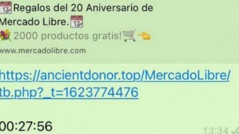 Nueva estafa en Whatsaap: ofrecen productos gratis por el aniversario de Mercado Libre